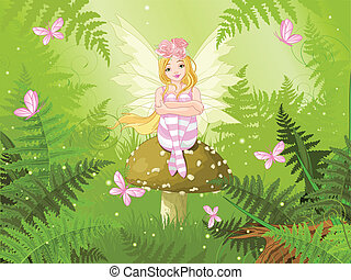 Magic fairy in forest - Magic fairy with butterfly in forest...