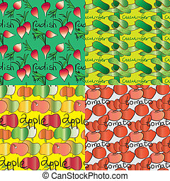 set of four seamless patterns with vegetables and fruits