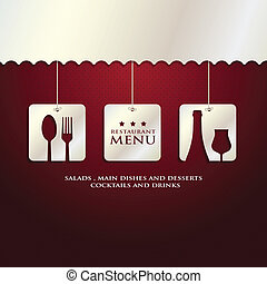 restaurant menu presentation in red background