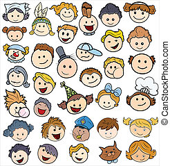 Various Kids Happy Faces Vector