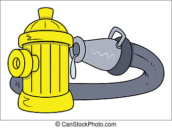 Hydrant Rescue Water Pipe - Vector - Drawing Art of Cartoon...