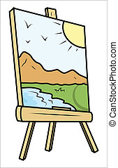 Landscape Drawing on Painting Easel - Drawing Art of...