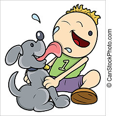 Dog Licking Face of Kid - Vector
