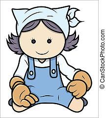 Hardworking Teen Girl - Vector - Drawing Art of Cartoon Maid...