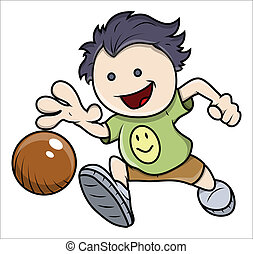 Kid Playing with Ball Vector