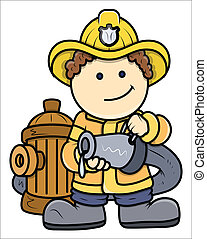 Little Fireman - Kid Vector Cartoon - Drawing Art of Cute...