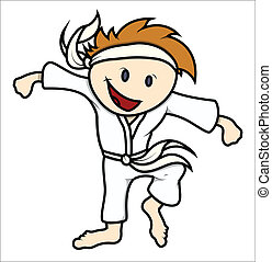 Martial Arts Kid - Vector Cartoon - Drawing Art of Cute...