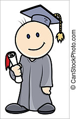 Kid in Graduation Dress Vector - Drawing Art of Cute Happy...