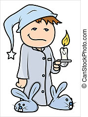 Kid with Candle at Night Vector - Drawing Art of Cute...