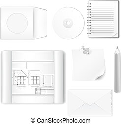 Set of office items - Vector illustration