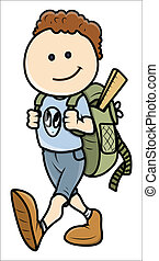 Kid Going to School - Drawing Art of Cute Cartoon Boy Going...