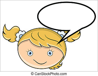 Girl with Speech Cloud Vector - Drawing Art of Cute Funny...