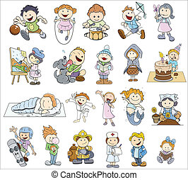 Set Of Various Cartoon Kids - Drawing Art of Cute Funny and...