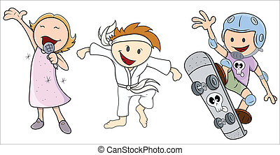 Kids Various Profession - Vector - Drawing Art of Cute and...