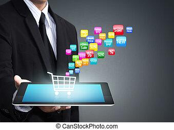 shopping, carreta, aplicação, ícone