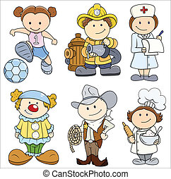 Kids in Various Professions - Drawing Art of Cartoon Cartoon...