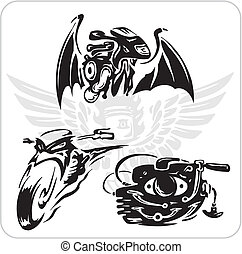 Vector set - Bike symbol - Crazy Drivers - Vinyl-ready...