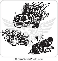 Vector Symbols set for Trucks and Cars - Crazy Drivers -...
