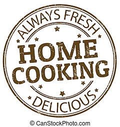 Home cooking stamp - Grunge rubber stamp with the home...