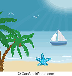 Tropical seaside poster