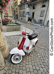 Scooter in old city, Estavayer-le-lac, Switzerland
