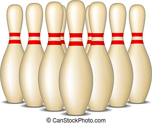 Bowling pins in formation - Bowling pins with red stripes...