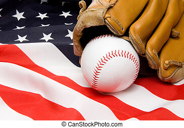 Baseball and Glove - A Baseball and Glove on an American...
