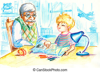Grandfather helping his grandson with homework.Picture...