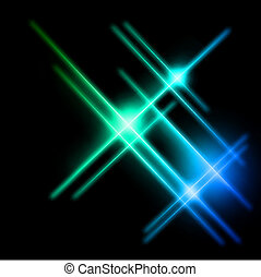 Abstract cyan and blue rays lights. Vector