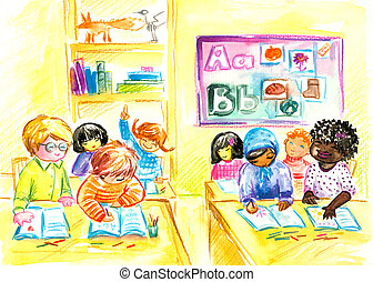Classroom - Children in classroom.Picture created with...