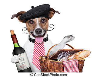 french dog with red wine and Picnic basket