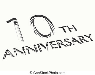10 years anniversary - isolated engraving of 10th...