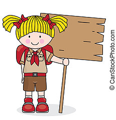 Girl scout holding a wooden board. Space for text