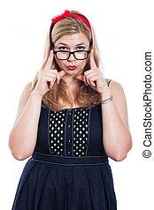 Cute woman in eyeglasses - Young cute woman in eyeglasses,...