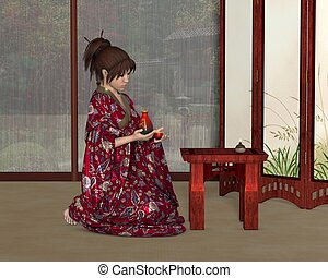 Japanese Woman inside her House - Young Japanese woman...