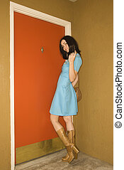 Woman in retro clothing. - Caucasian young adult woman in...