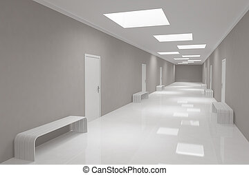 Modern long corridor with offices