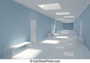 Modern long corridor in hospital