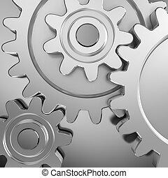 Gear wheels on metal surface