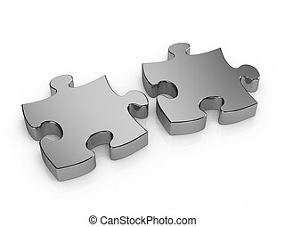 Two pieces puzzle - Two pieces metal puzzle