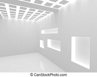 Empty modern shop with illumination shelf
