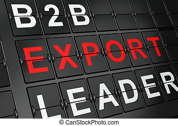 Business concept: Export on airport board background, 3d...