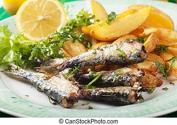 grillé, sardine, fish, pomme terre, Coins