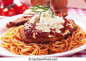 Chicken parmesan with spaghetti pasta - Chicken parmesan,...