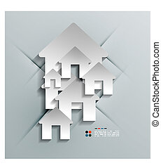 Vector 3d paper house home modern design