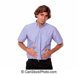 Handsome young man with terrible stomach pain - Portrait of...