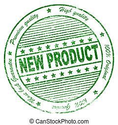 Grunge new product green rubber stamp