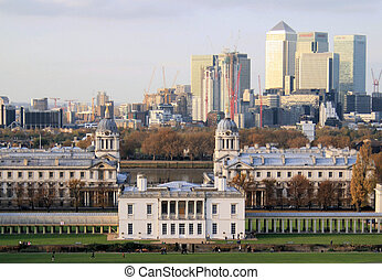 London Docklands taken from Greenwich Park with Queen's...