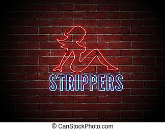 Sexy Stripper Neon Sign - Brigt neon sign of a sexy naked...