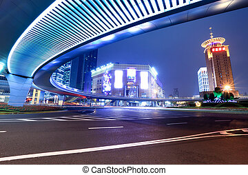 modern city at night in shanghai - night in of modern city...